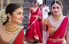 Alia Bhatt Dressed like a proper Tamil bride, Alia stunned in a bright red sari in the wedding scene in 2 States. She teamed it with a contrasting orange blouse, kundan jewellery and traditional flowers. It all spells perfection! Won't you agree!