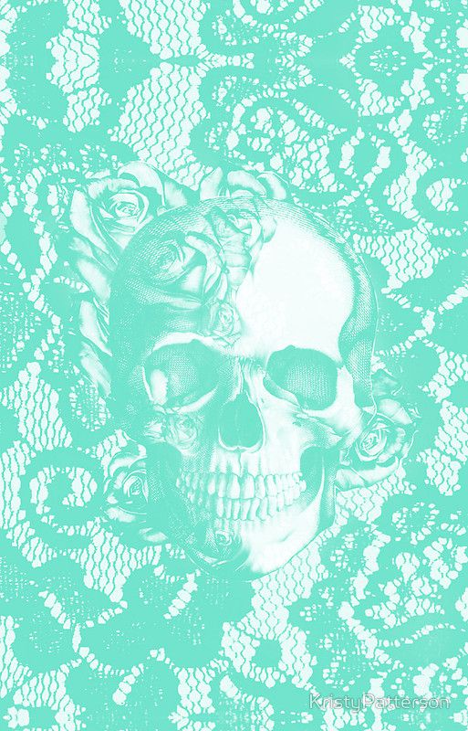 Mint lace skull by KristyPatterson