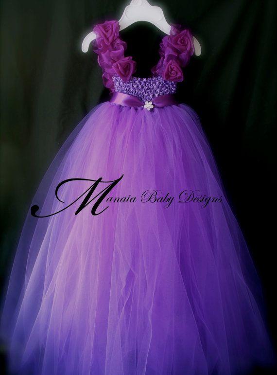 Purple Flower Girl Tutu Dress. $38.00, via Etsy.
