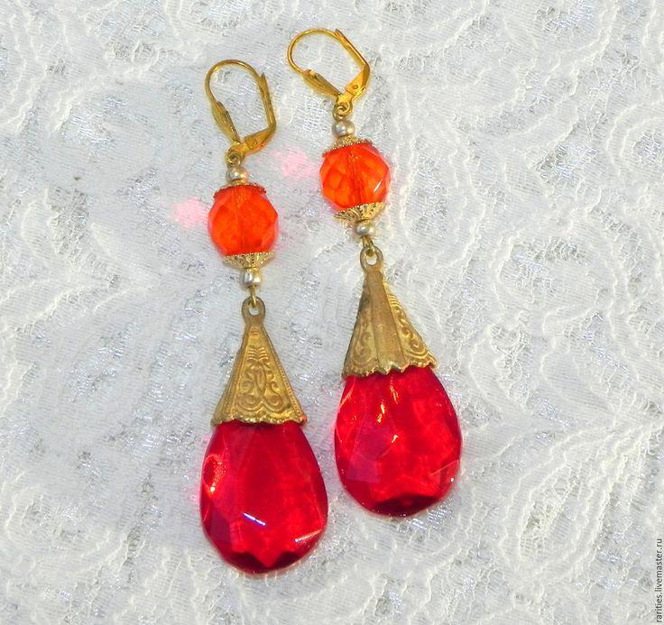 Купить Серьги Красное пламя,богемское стекло,Чехия,винтаж,серёжки в подарок - антикварные украшения