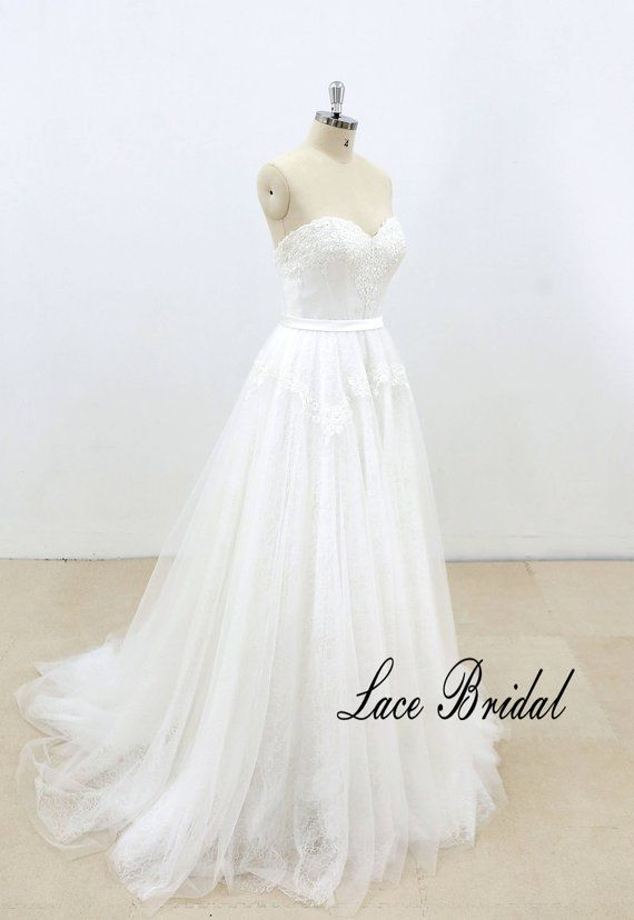 bc4d5bf8cdb Simple strapless lace wedding dress with sweetheart neckline A ...