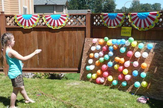 Carnival party ideas: Carnivals Birthday, Birthday Parties, Backyard Carnival, Parties Ideas, Carnivals Parties, Circus Parties, Parties Games, Birthday Ideas, Balloon Darts