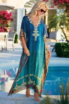 Cote D'azur Caftan - Turquoise Caftan, Chiffon V-neck Caftan | Soft Surroundings - LOVE this (not the price though). - k.