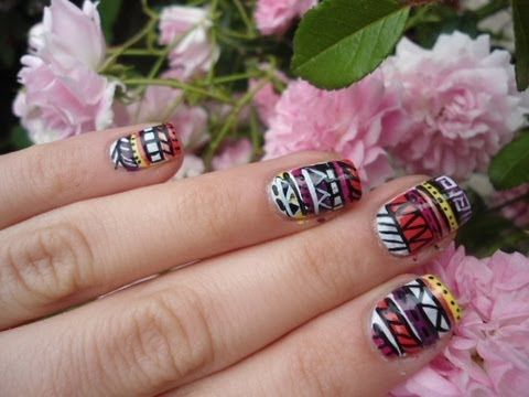 Easy Tribal aztec nails (unghie tribali)