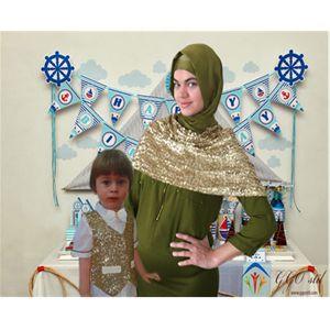Anne Oğul Kombin- Çocuk Yelek ve Papyon Takımı-Sarı Payet