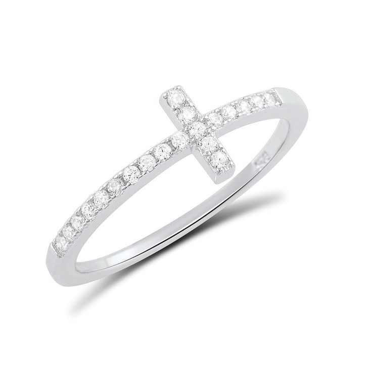 Sterling Silver Cz Thin Stackable Sideways Cross Ring - Size 4-9