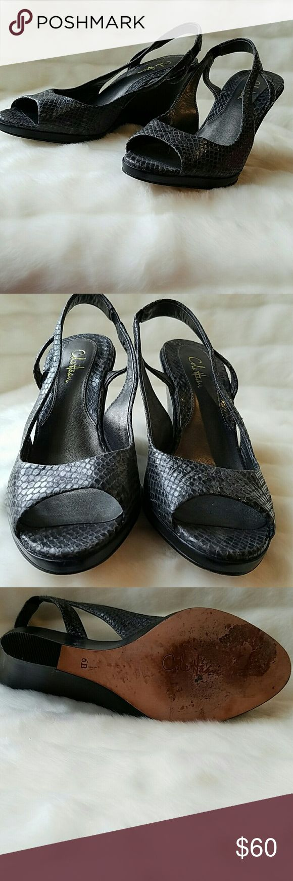 Cole Haan grey leather wedge slingback sandal. 6 Cole Haan grey leather wedge slingback sandal. 6 Cole Haan Shoes Wedges