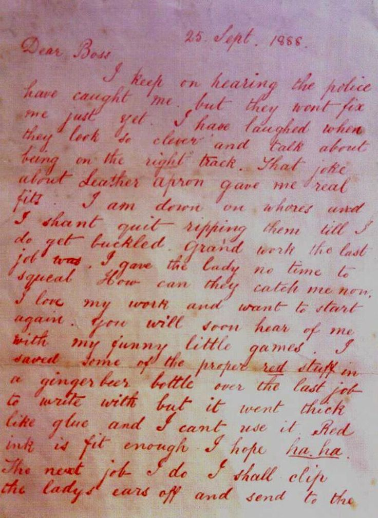 "Jack the Ripper letter, 1988. ""I keep on hearing the police have caught me, but they won't fix me just yet."""