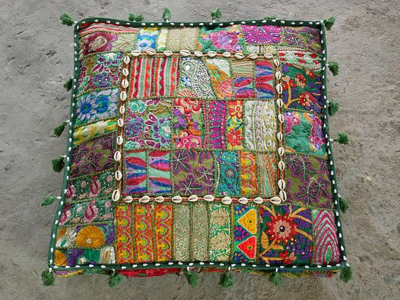 Square Floor Pillow Boho Jungle Large Bohemian Floor Cushion