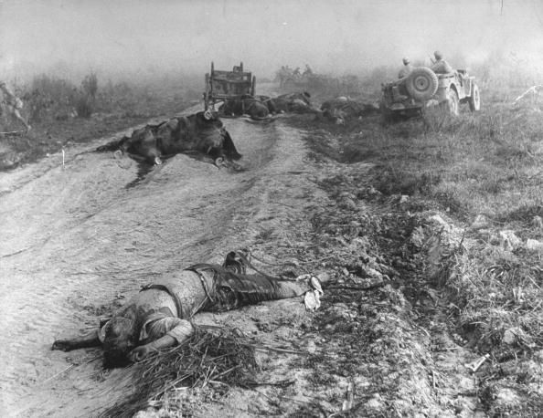 Dead Japanese soldiers lying next to road during Burma campaign