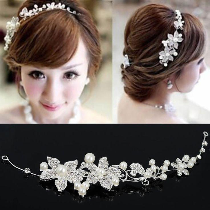 Pearl Flower Crystal Rhinestone Party Bridal Headband Hair Band Clip Tiara Clear