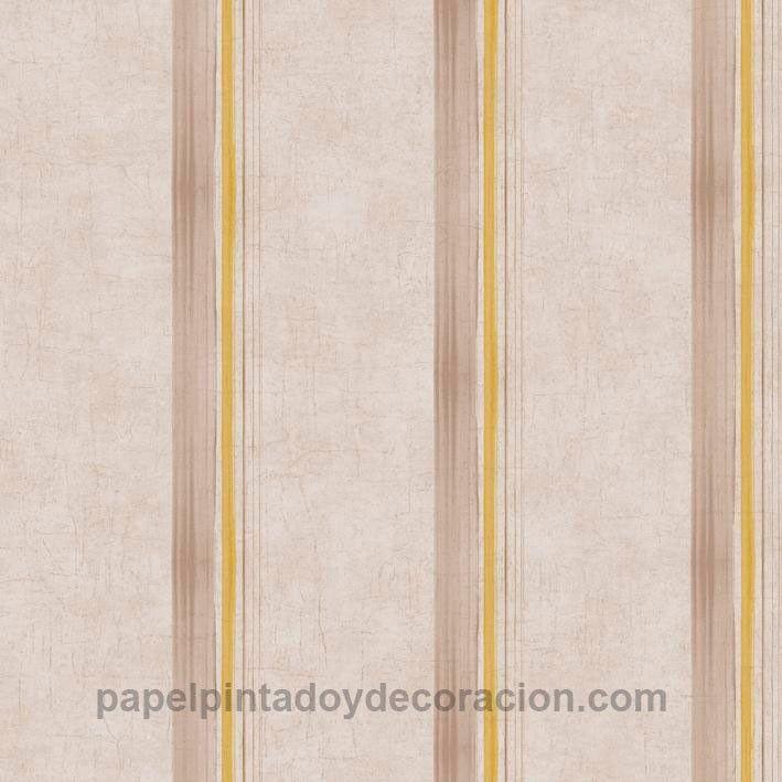 Papel pintado Caselio rayas marrones y amarillas fondo marrón claro textura rugosa KDO65492018