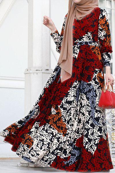 Print maxi dress Alara www.annahariri.com Trendy modest wear.