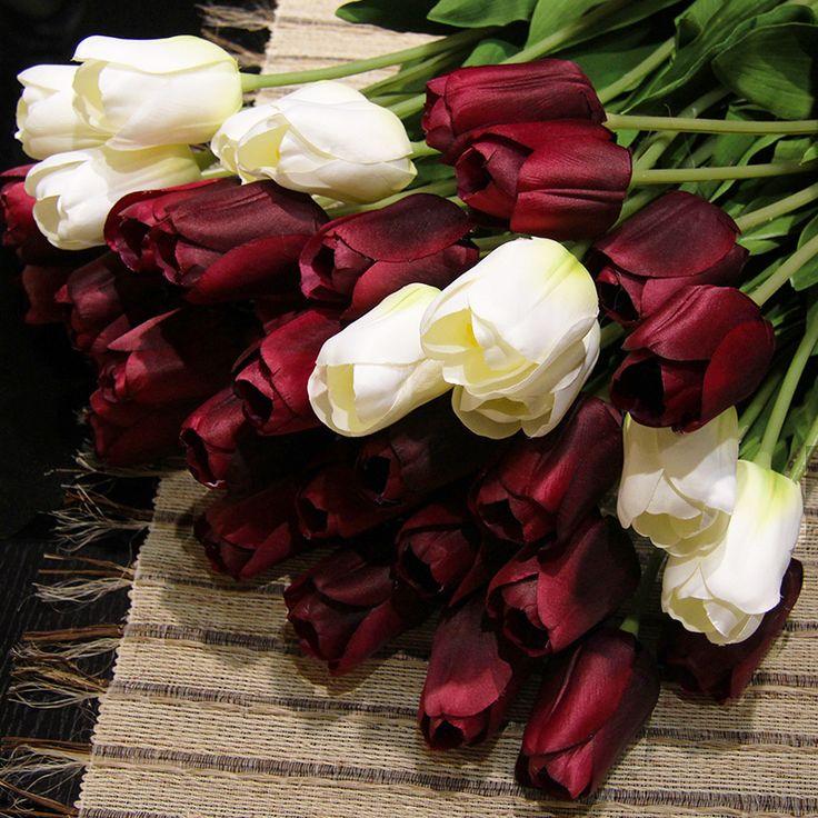 Pas cher 20 pcs/lote 12 couleurs tulipe de soie bouquet de mariage fleurs artificielles, Acheter  Fleurs décoratives et couronnes de qualité directement des fournisseurs de Chine:    20 pcs/lote 12 couleurs soie tulipe de mariage Bouquet Fleurs artificielles         Produits spécifications