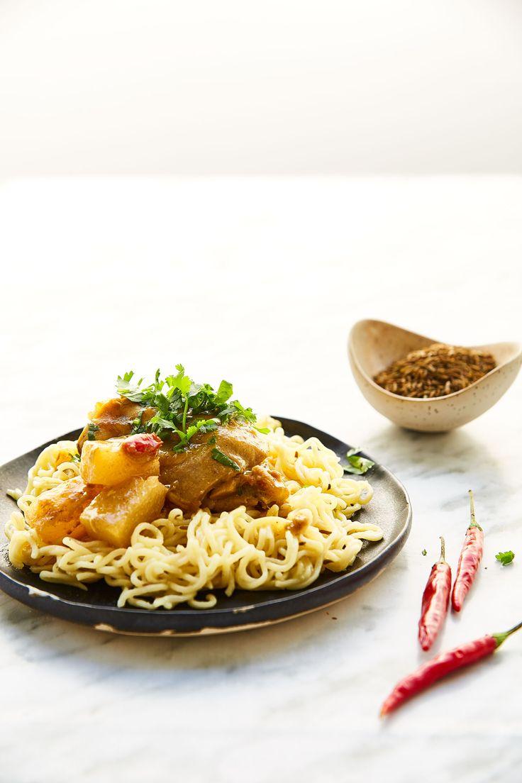 Caril de Frango com Noodles Maggi