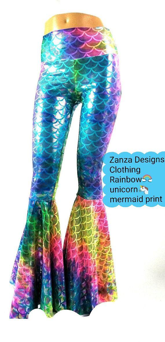 15272b26583422 Bell Bottom Flares Rainbow Unicorn Mermaid Leggings Stretchy EDM Burning  man Festival JTree