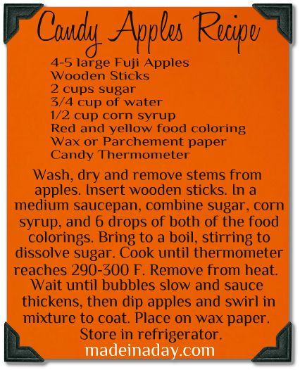 Candy apple recipe. I wonder if this would work if you cut the apple into slices first.