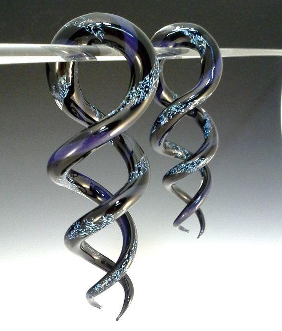 Tri-Tone Dichroic Helix Shapes (8g,6g,4g,2g) CUSTOM Ear Plug Gauges Borosilicate spiral Pyrex 8g,6g,4g,2g,1g,0g, 00g