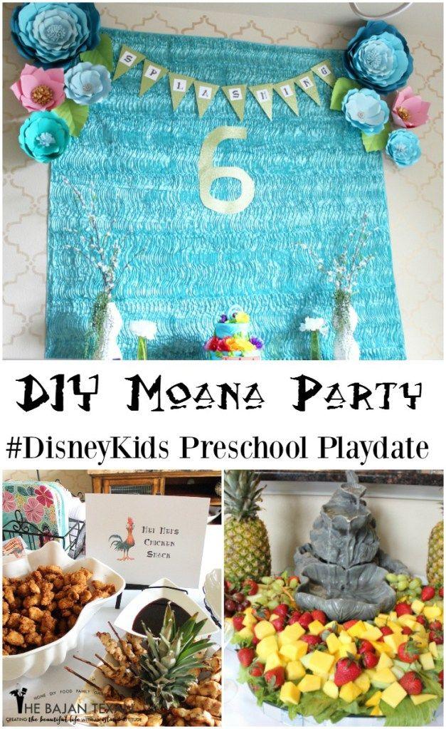 How to Plan the Perfect Moana Party #DisneyKids Preschool Playdate #ad Lots of Moana party inspiration: Moana Cake, Moana Invitation, Moana Backdrop, Moana Party Activities, Moana Party food, Moana Party Printables.