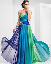 H007 Pavão Robe de soirée Vestidos de Noite 2017 Chiffon Azul vestido de festa Longo Vestidos Bandage Festa À Noite Fotos Reais alishoppbrasil