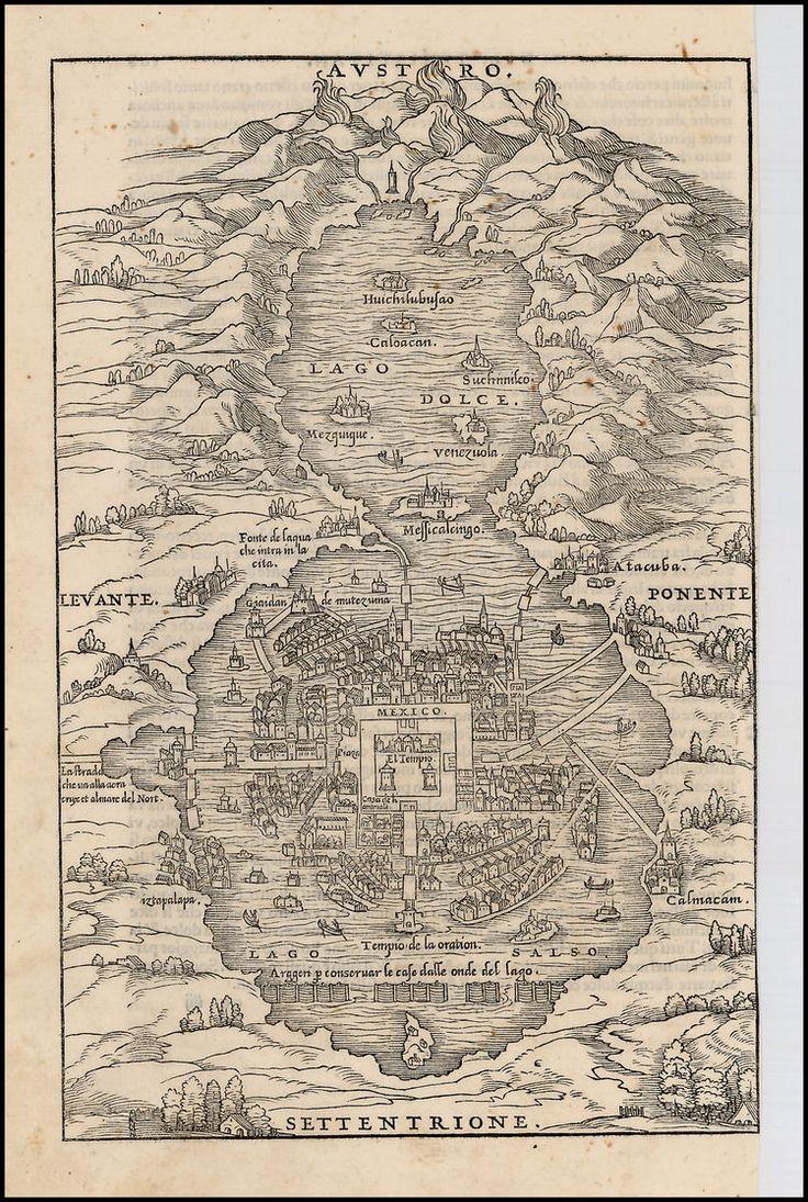 Mapa de la Ciudad de México : Giovanni Battista Ramusio 1556