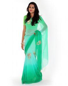 Comely Handcrafted Gota Patti Chiffon Saree