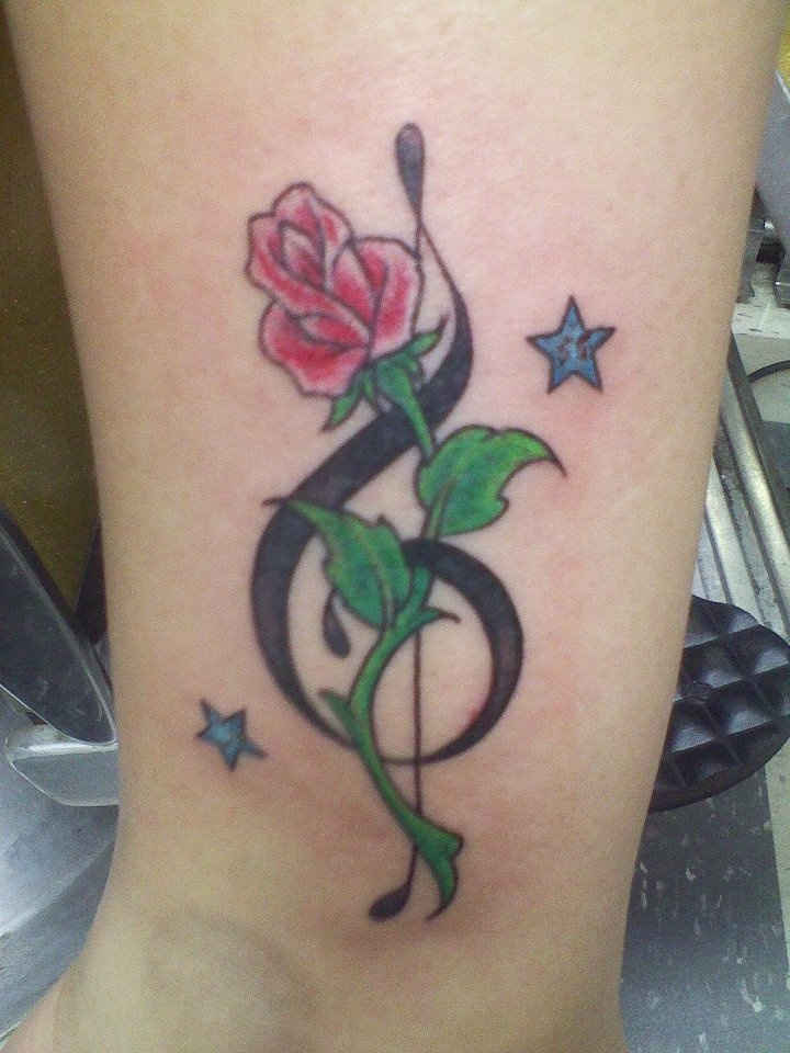my tattoo music note rose and stars tattoo ideas pinterest note music notes and stars. Black Bedroom Furniture Sets. Home Design Ideas