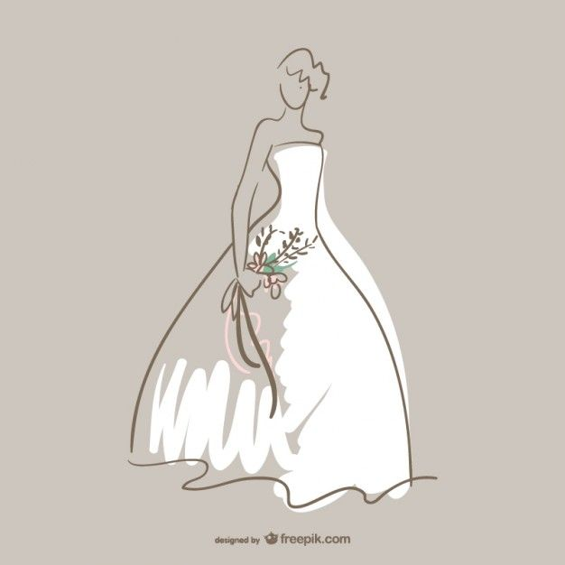 Wedding dress vector art Free Vector
