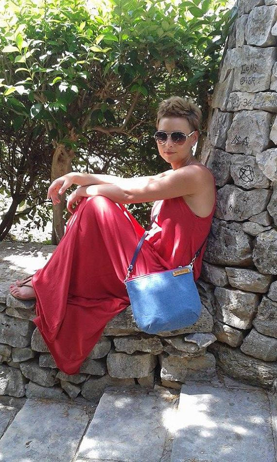 Denim jeans  messenger bag crossbody bag genuine by bandabag