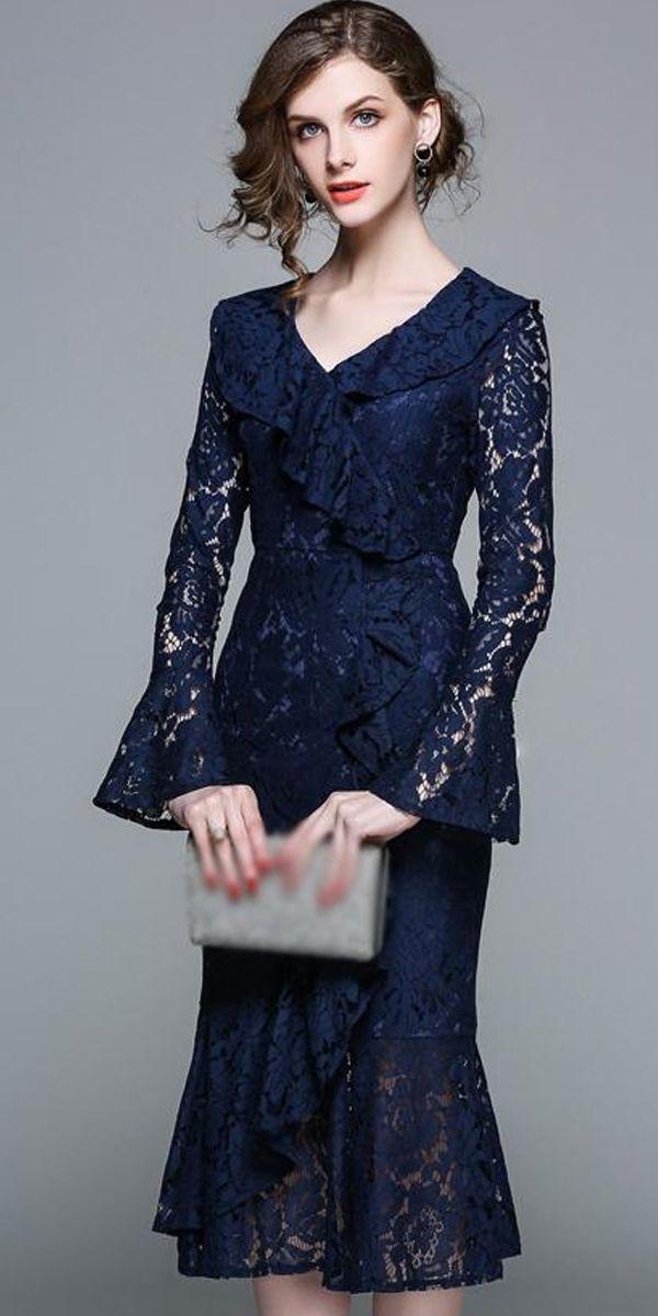 Elegant Lace V-Neck Puff Sleeve Mermaid Bodycon Dress