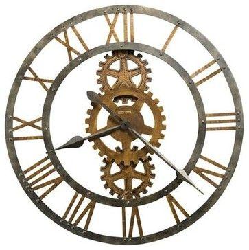 Crosby Large Metal Gear Wall Clock - transitional - Wall Clocks - Expressions of Time, LLC