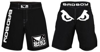 """Specifications Bad Boy MMA shorts, 4 way stretch material, 250 gsm. We offer paypal for 100% secure business. Features: Bad Boy model MMA Short, 4 way stretch micro, 250 gsm. T3 Stitching Embroidered Logo Sizes 30"""",32"""",34"""",36"""",38"""",40"""" All color Combinations available Printing Process: Silk Screen Printing (We use non toxic german ink, LED & Benzine free) with life time guaranty Sublimation Heat Transfer Embroidery"""