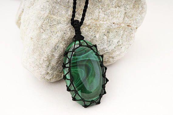 Necklace and pendant, Malachite jewelry, Guy necklace, Surfer pendant, Cord necklace, Boho pendant, Green stone necklace, Malachite crystal