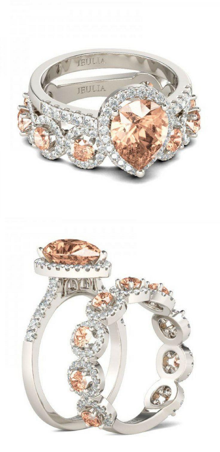Gorgeous Jeulia Pear Cut Halo Champagne Sapphire Wedding Set | Sapphire | Wedding Set | Wedding Ring | Engagement Ring | Wedding Ideas | Jewelry | Jeulia #ad #jewelry #wedding #engagement #anniversary #ring #fashion