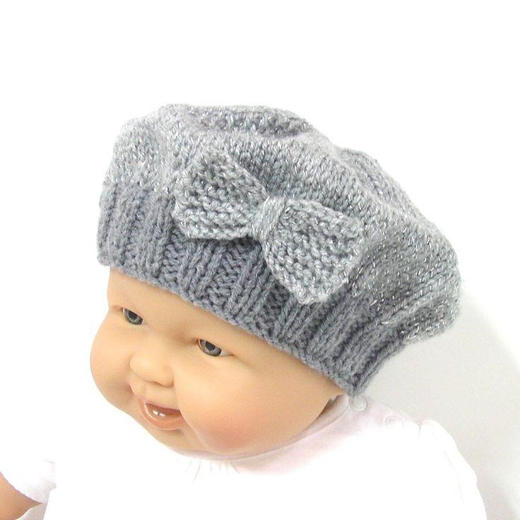 Bonnet bébé gris brillant tricoté style béret avec noeud taille 6/9 mois Tricotmuse