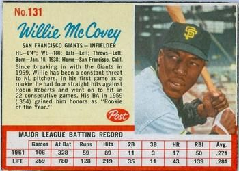 post cereal baseball cards     mccovey | topps 517 willie mccovey 1962 post cereal 131 willie mccovey