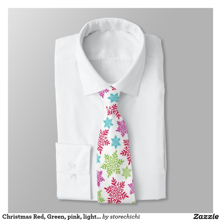 Christmas Red, Green, pink, light blue snowflakes Tie