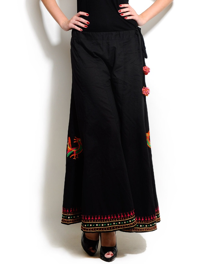Black and multi Cotton Palazzo