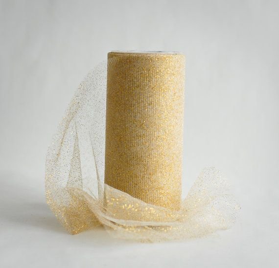 Metallic Gold Tulle Spool 3 inches wide 25 by BeautifulAdditions  #FullSpools #WeddingDiy