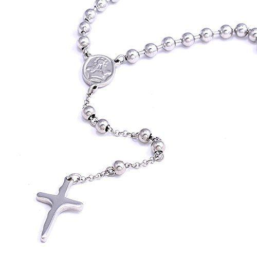 Sobrio y elegante, este rosario para hombre, de 63 cm. de largo, es perfecto para llevarlo como colgante. Elaborado en acero inoxidable, no se estropea ni pierde su brillo. Un regalo perfecto para esa persona muy especial.