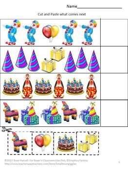 birthday cut and paste activities special education kindergarten preschool preschool. Black Bedroom Furniture Sets. Home Design Ideas