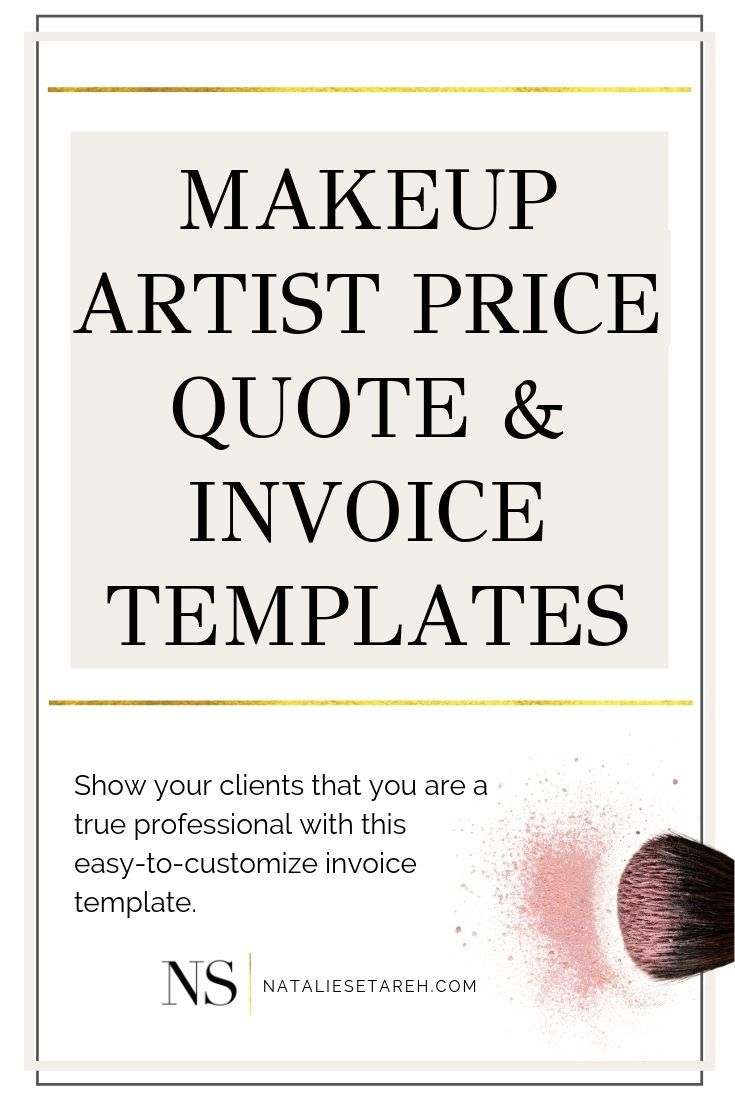 Makup Artist Business Price Quote Invoice Template Makeup Artist Quotes Freelance Makeup Artist Business Makeup Lessons
