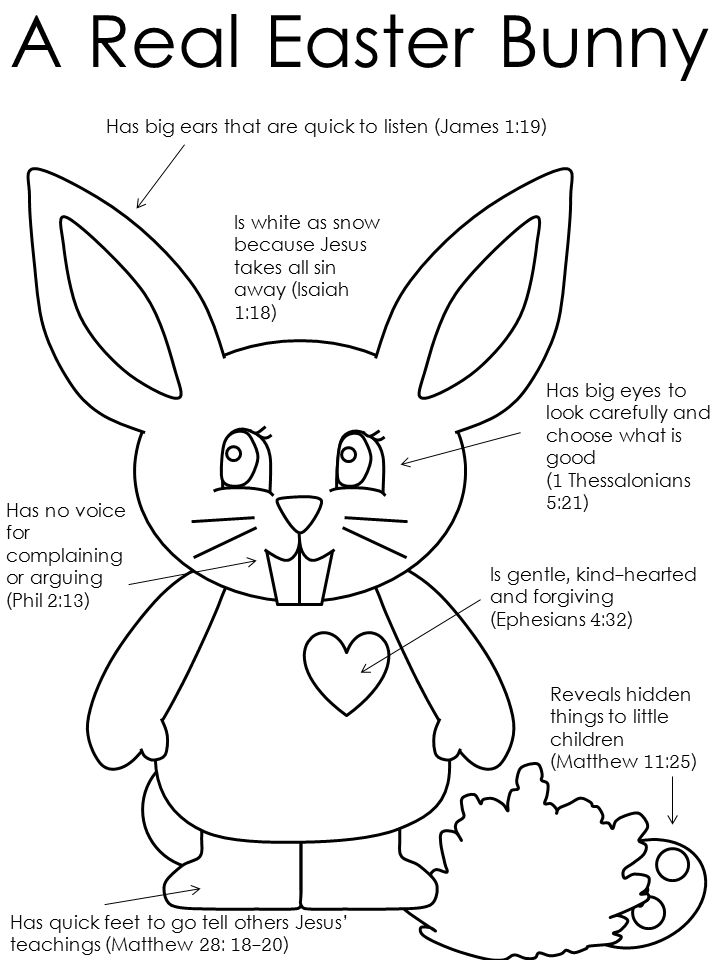 "A Real Easter Bunny coloring from DLTK with scripture - ""best"" Easter Bunny I've seen"