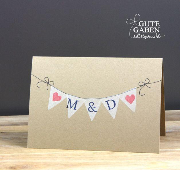 Karte Hochzeit Initialen