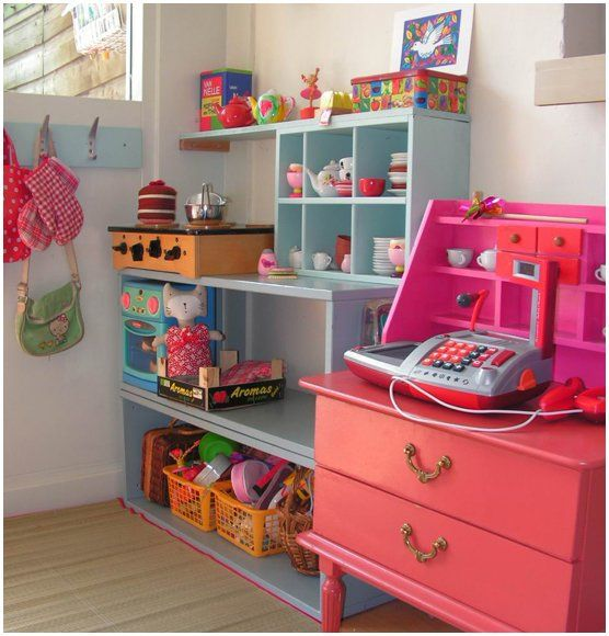 Charming Play Kitchen and shelves