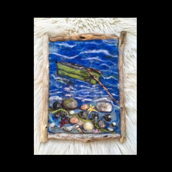 Hand made wool felted picture Norwegian nature wall от NorwayWool