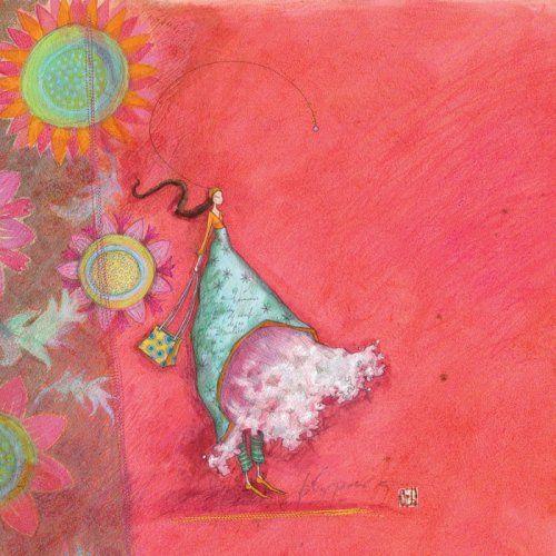 """Gaëlle Boissonnard square card (14 cm) """"La fille au cabas"""""""