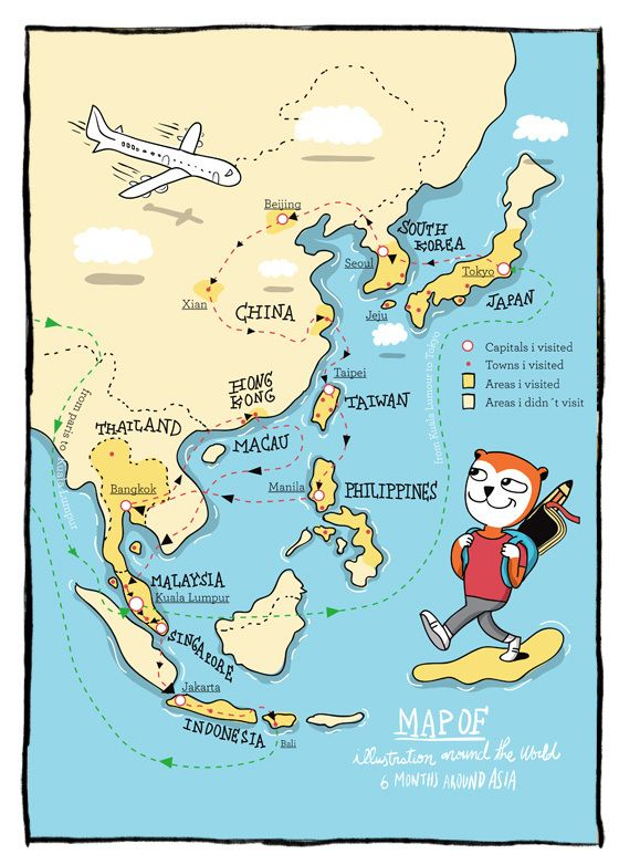 Emprendemos un gran viaje por Asia, a través de las ilustraciones de Pablo Ientile. Su alter ego, un simpático oso, es el protagonista de Ilustration Around the World.