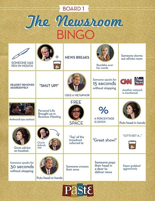 The Newsroom Bingo - HAHA this is awesome!!!