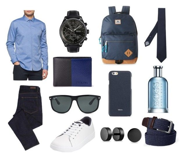 """⚫️🔵"" by ricardo-rodriguez-hernandez on Polyvore featuring Calvin Klein, Geox, Original Penguin, HUGO, Diesel, Steve Madden, Lands' End, Ray-Ban, Valextra y Eleventy"
